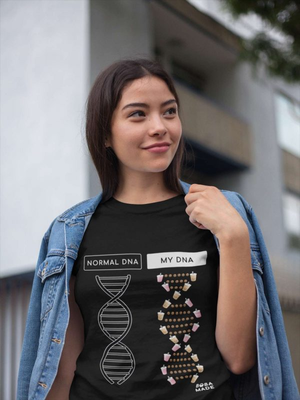 Woman wearing jacket Boba DNA t-shirt black